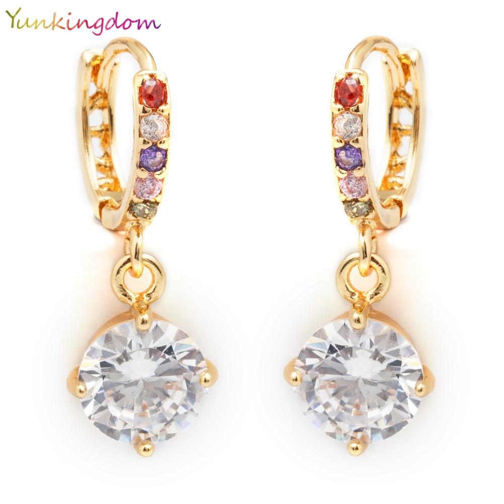7bad8996f873 Yunkingdom moda joyería encantadora Zircon cristal pendientes de gota para  las mujeres encantos pendiente regalos femeninos K0051