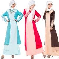 2018 Spring Elegant Women S Maxi Long Dress Kaftan Jilbab Islamic Muslim Abaya Lace Appliques Women