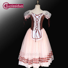 Brown Giselle Ballet Tutu Dress  Peasant Costumes For Girls Romantic Children SD0003D