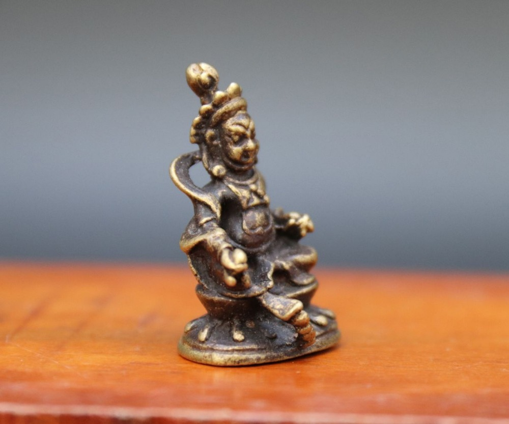 3 CM Chinese Bronze Amulet Yellow Jambhala Zambala god of wealth Buddha Statue