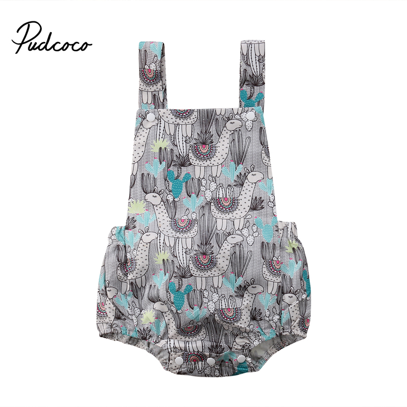 Pudcoco New Casual Newborn Baby Girl Romper Floral Sleeveless Sunsuit Summer Clothes Outfits 0-24M