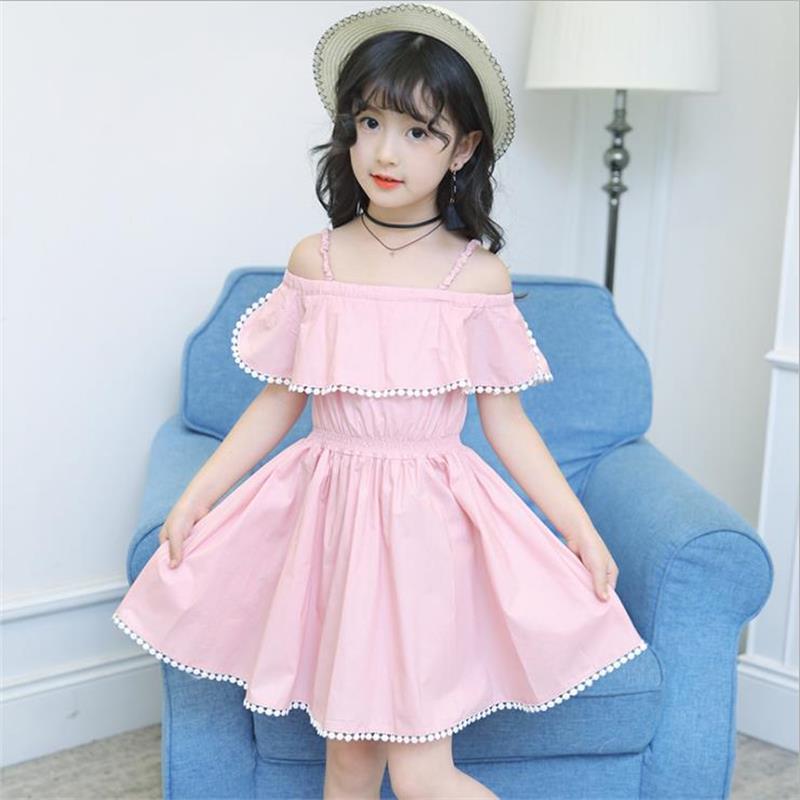 f116157bbf86 fashion Summer princess dress girl Off Shoulder Sundress kids dresses for  girls Flower 4 8 10 12 Year Kids Teen Clothes