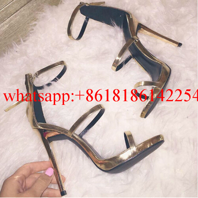 ФОТО Hot Sale High Heels Metallic Leather Strappy Lance Summer Sandals Women Silver and Gold Open Toe Platform Gladiator Sandals