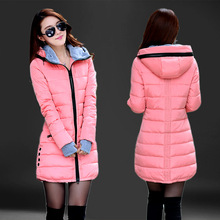 Fashion Hooded Cotton Parka Women 2019 Candy Color Winter Long Cotton Padded Jac