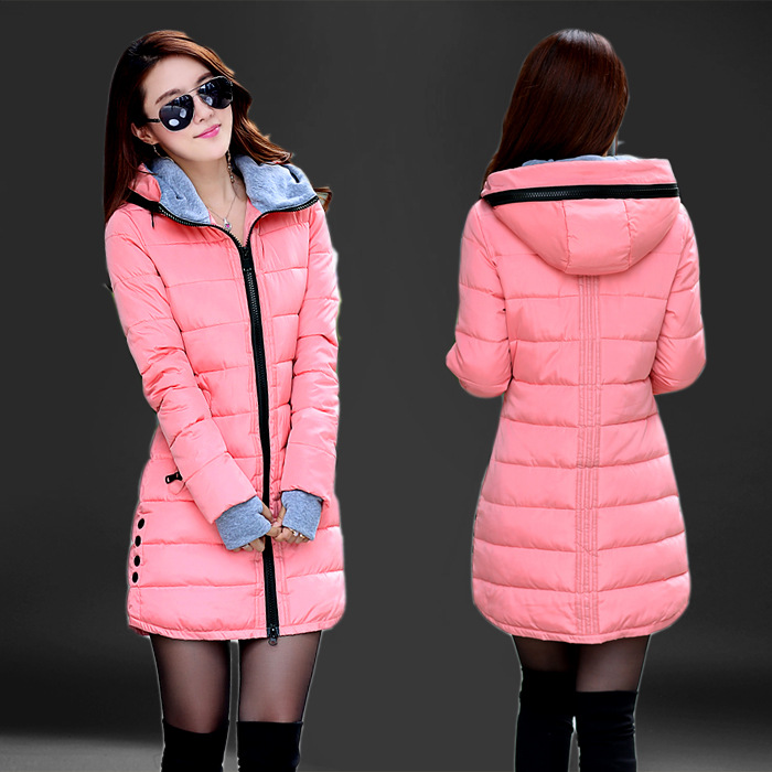Moda com capuz de algodão parka feminino 2019 doce cor inverno longo algodão acolchoado jaqueta quente magro outwear feminino plus size casaco