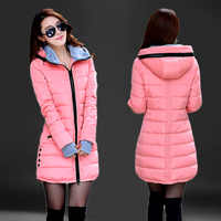 Mode Mit Kapuze Baumwolle Parka Frauen 2019 Candy Farbe Winter Lange Baumwolle Gefütterte Jacke Warm Schlank Outwear Frauen Plus Größe Mantel