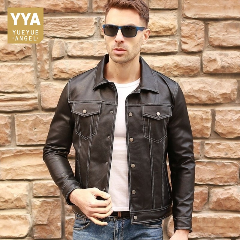 3a09382d Nuevas chaquetas de cuero Real de piel de oveja de lujo para hombre estilo  vaquero Vintage Slim ...