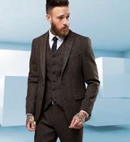 Custom Made Tweed Wool Brown Men Suit British style Modern Blazer Skinny Fit Men Business Formal Suit 3pcs(jacket+vest+pants)