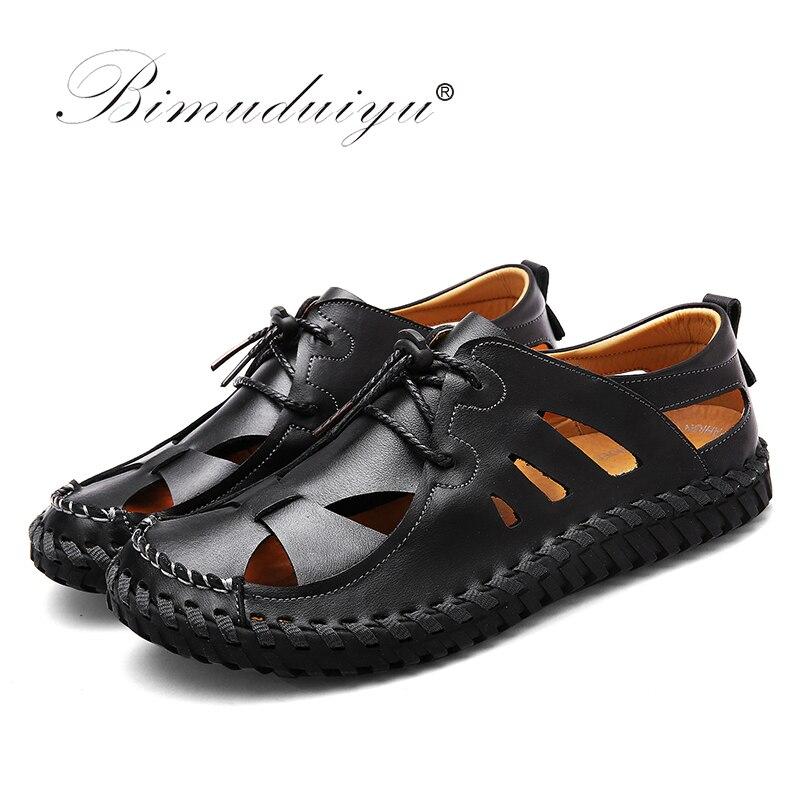 BIMUDUIYU uued mehed sandaalid brändi nahk suvine vabaajajalatsid - Meeste jalatsid - Foto 2