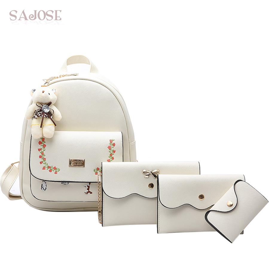 SAJOSE Lady Leisure Embroidery Flowers Lovely White 4 Sets Pendant Bear Women Shoulder Women Leather Backpacks For Teenage Girls a three dimensional embroidery of flowers trees and fruits chinese embroidery handmade art design book