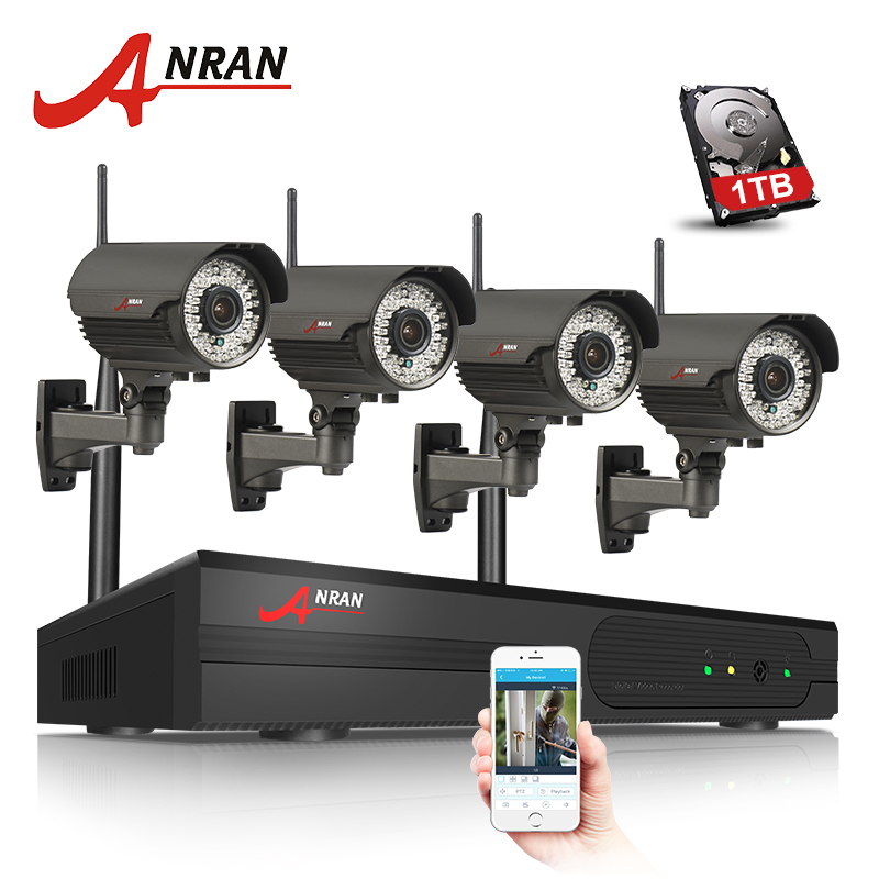 4CH H.264 NVR WIFI CCTV System 1TB HDD 720P IP Camera Wireless HD Outdoor IR Varifocal 2.8mm-12mm Security Surveillance Camera 1tb hdd cctv system 4ch h 264 wireless nvr security video recorder p2p 1 3mp outdoor ir wifi ip camera 960p surveillance camera