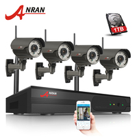 4CH H 264 NVR WIFI CCTV System 1TB HDD 720P IP Camera Wireless HD Outdoor IR