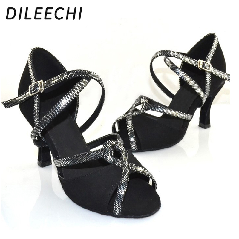 so cheap best prices autumn shoes DILEECHI Black Flock adult women's Latin dance shoes spring and ...