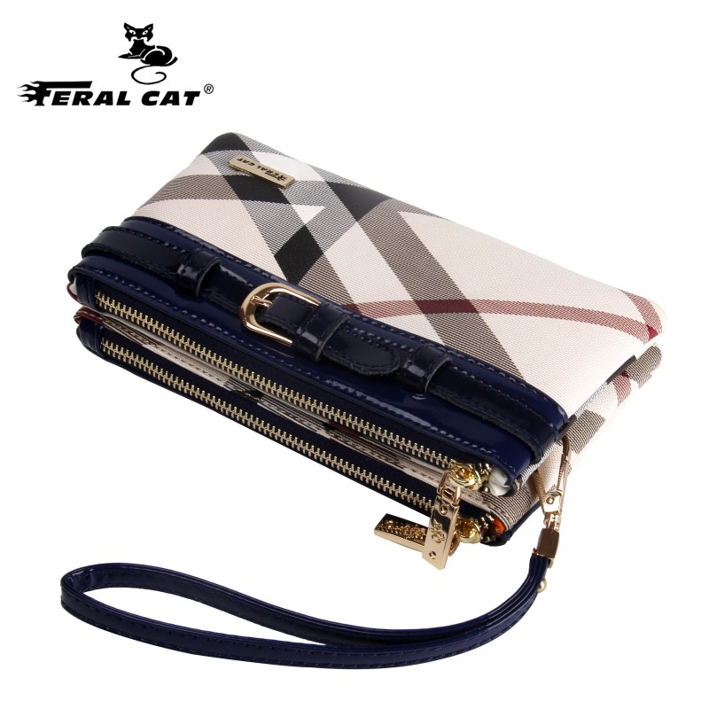 FERAL CAT Women Wristlet Bag Plaid Shoulder Bags 2018 Fashion Designer Combined Crossbody Handbags  9008 feral cat high quality women shoulder bags 2017 vintage pvc designer hobos handbag ladies crossbody bag culth zipper plaid bolso