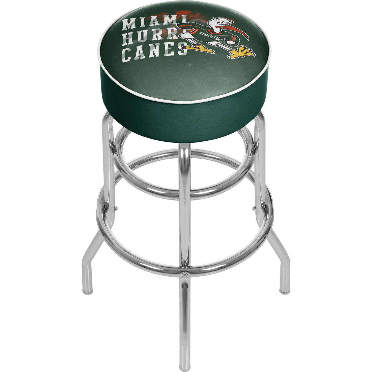 University of Miami Sebastian Chrome Bar Stool with Swivel - Smoke