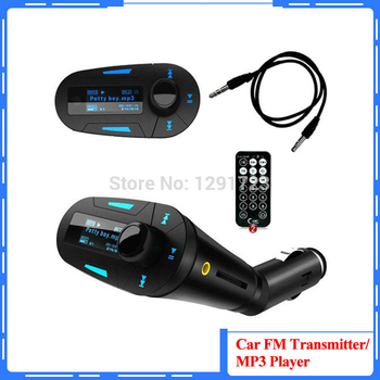 High quality Blue Car MP3 Player Music Player Wireless FM Transmitter Modulator Remote Control LCD USB+ SD+MMC+U disk Car Kit image