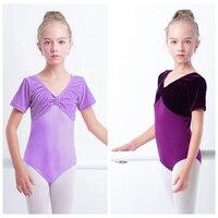 New Arrival Girls Velvet Cotton Gymnastics Leotard Child Kid Short Sleeve Ballet Dance Leotard