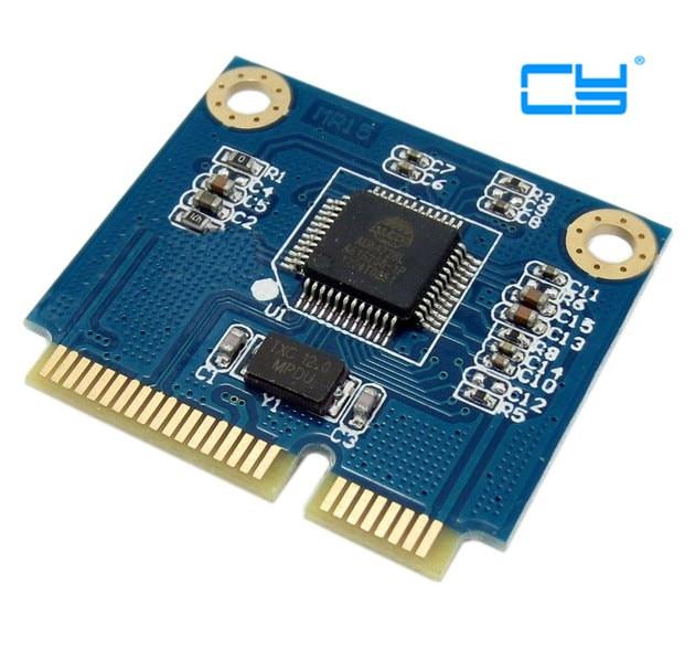 1pcs Dual TF Micro SD Card to Mini PCI-E Express with half Bracket Memory Card Reader Adapter