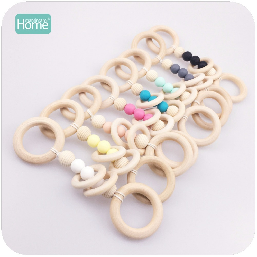 MamimamiHome Baby Rattle 8pc Montessori Play Gym Hand Weave DIY Baby Nursing Accessories Wooden Teething Jewelry Baby Toys