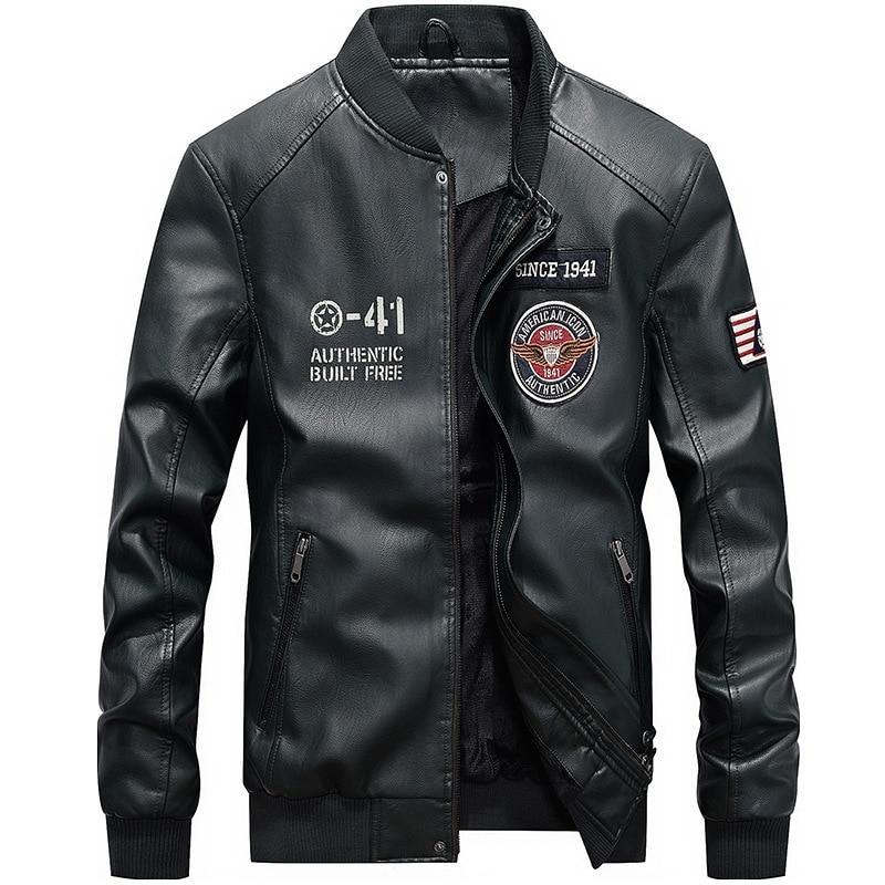 Camperas De Hombre 2019 Cuero Men's Air Force A-41 Faux PU Leather Flight Bomber Jackets Men's Coats Plus Size 4XL Male Jacket