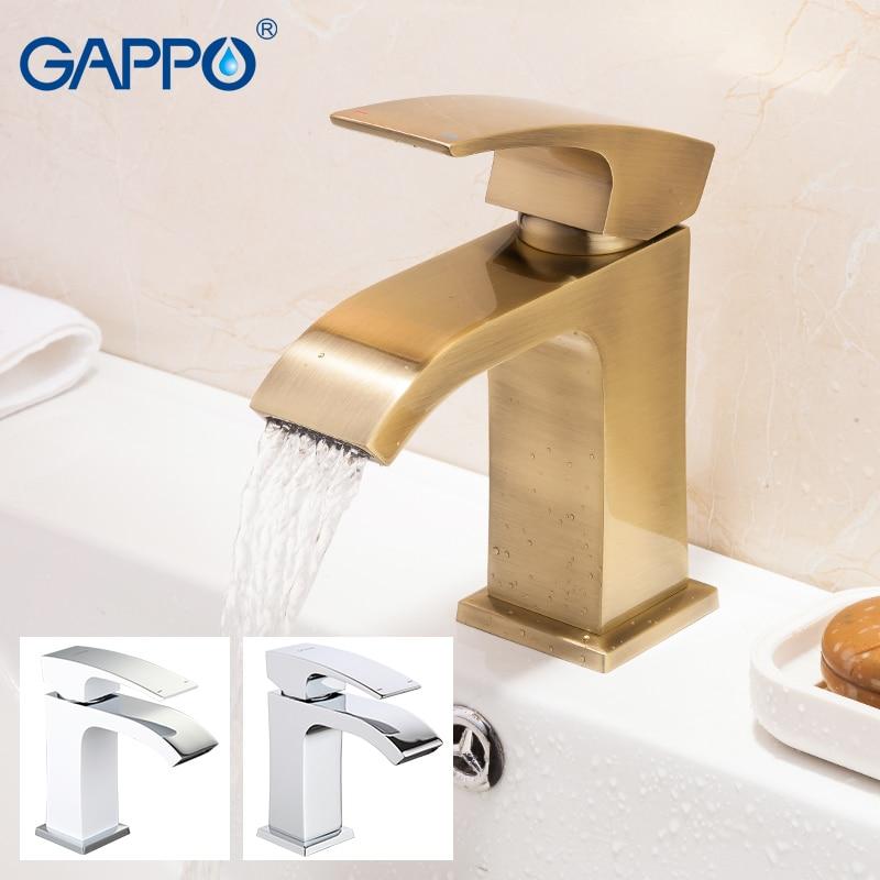 Gappo Cachoeira Deck montado Torneiras de Lavatório do banheiro de água fria e quente de bronze 3 padrões misturadores torneira única alça
