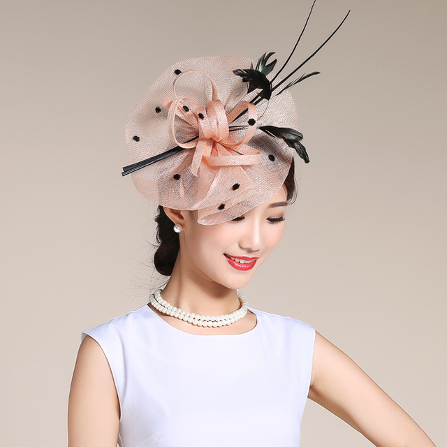 5dacf274e74 Feather Sinamay Hairband Fascinator Pink Navy Elegant Ladies Birdcage  Headwear Fashion Show Derby Hat Sinamay Headband Headdress