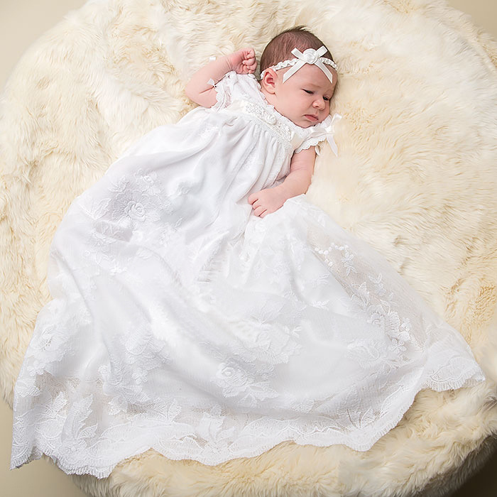 2016 New Noble Baptism Gown Floor Length Christening Dress Lace Edge Baby Infant Dress White/Ivory 0-24 Month With Headband