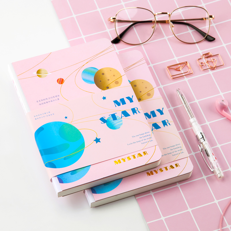 Planet Design Stars Hardcover Notebook B6 Hard Copybook Planner DIY Diary Bullet Journal Squared Inner Cute Traveler's Notebook a5 brave heart notebook hard copybook diary diy planner travel journal white kraft fashion stationery office suppiles