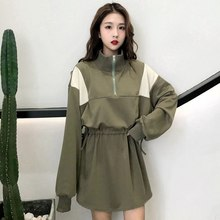 Women s Clothing Autumn Casual dress harajuku BF Panelled Patchwork Stand  Zipper long Sleeve Korea loose New ulzzang Dresses 996e873a4e7b