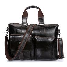 Brand Genuine Leather 14' Business Briefcase Portfolio Pack Men's Handbag Male Cross Body Shoulder Bag Messenger Bag For Laptop