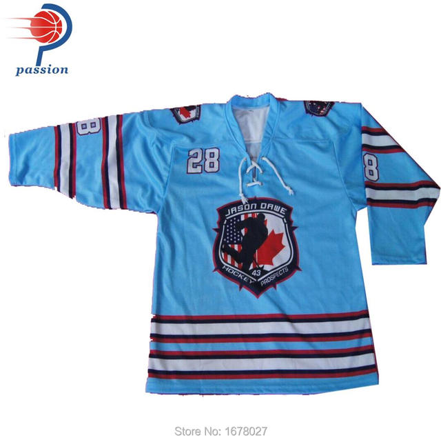 78e0aaaf1 Fully Dye Sublimated Baby Blue Ice Hockey Shirts with BIG Front Logos