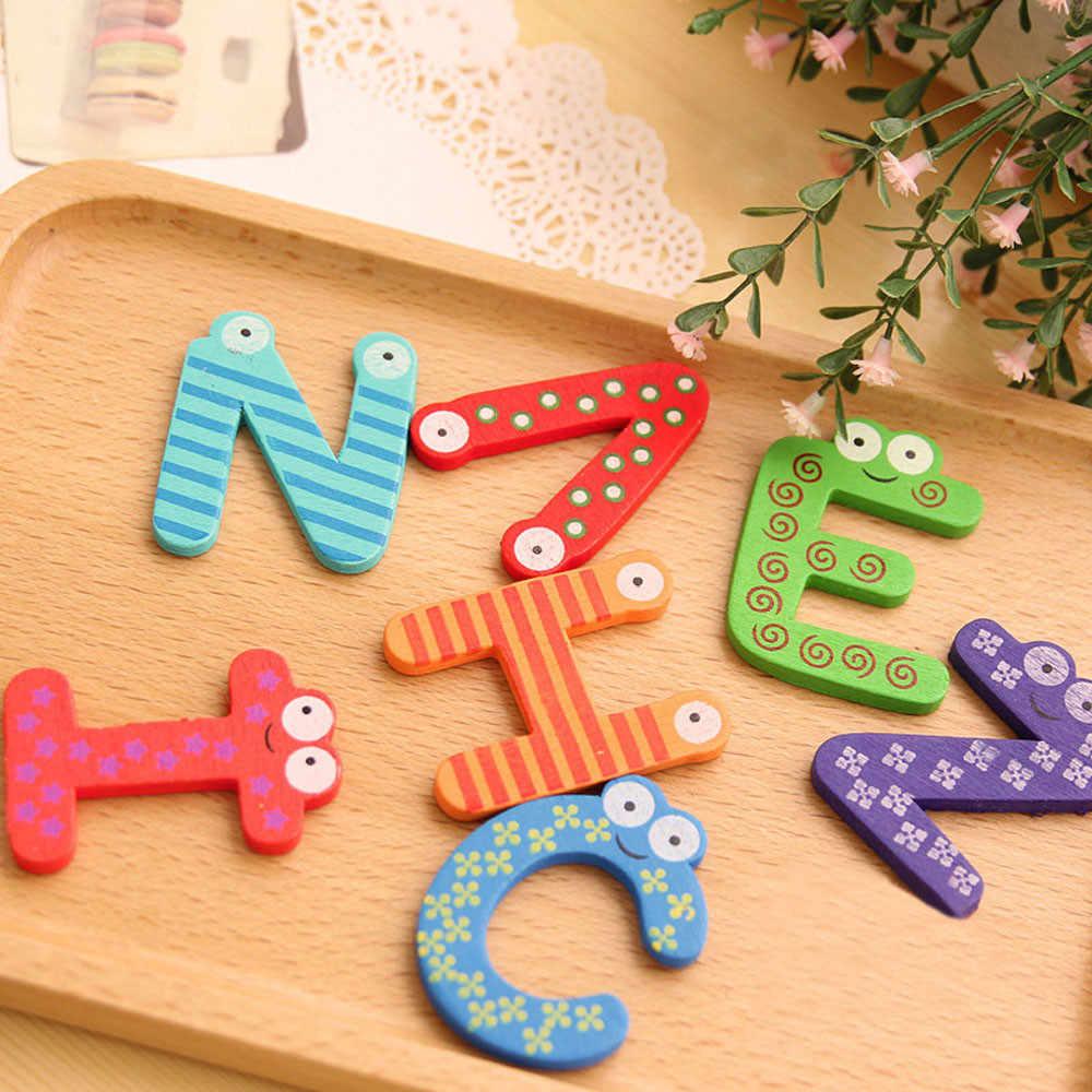 Горячая продажа Детские игрушки 26 шт./компл. деревянные буквы мультфильм алфавит ~ XYZ магниты на холодильник Детский образовательный деревянная игрушка подарок 15