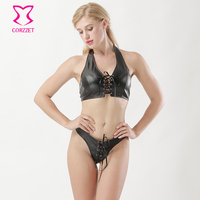 Black Faux Leather Halter Neck Lace Up Front Camis and Thong Set Lingerie Sexy Hot Erotic Underwear Women Pole Club Dancewear