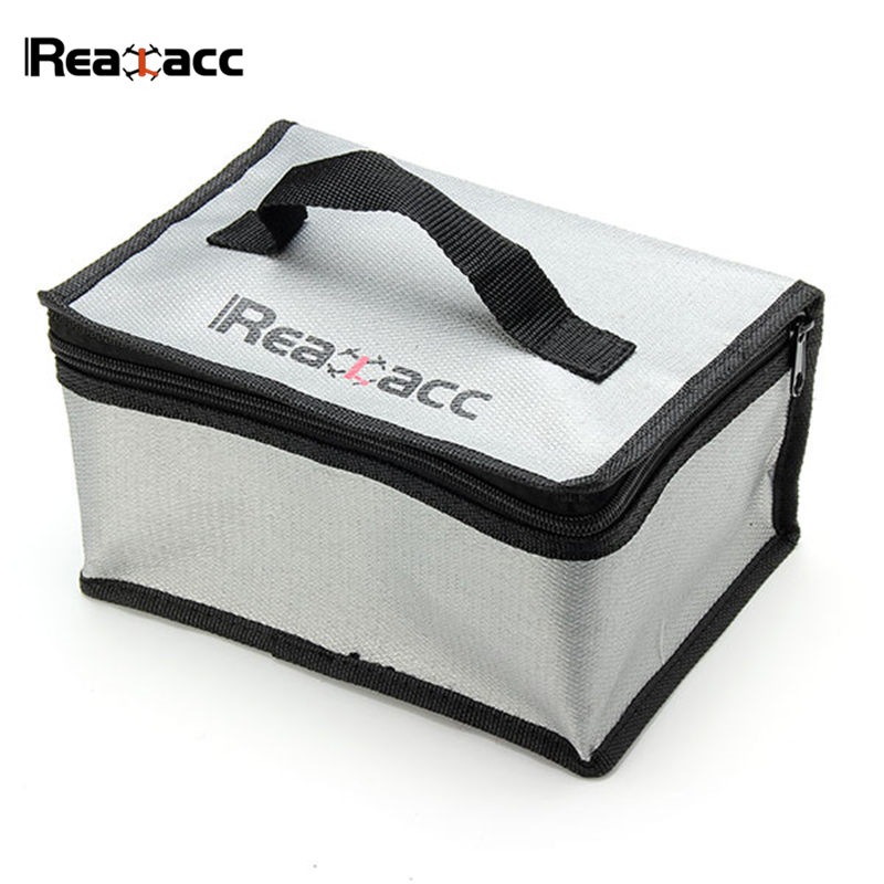 Original Realacc 220x155x115mm Fire Retardant Lipo Battery Bag Suitcase Storage Box With Handle For RC Models Quadcopter Part free shipping 2017new arrival fireproof rc liposafety bagguard realacc fire retardant battery bag 215 150 110mm with handle