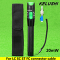 KELUSHI 20mW Aluminium Fiber Optic Visual Fault Locator Red Laser Source Cable Tester Meter with 2.5mm FC/SC/ST/LC Connector