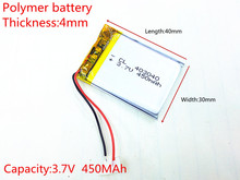 Free shipping Polymer battery 450 mah 3.7V 403040 smart home MP3 speakers Li-ion battery for dvr,GPS,mp3,mp4,cell phone,speaker