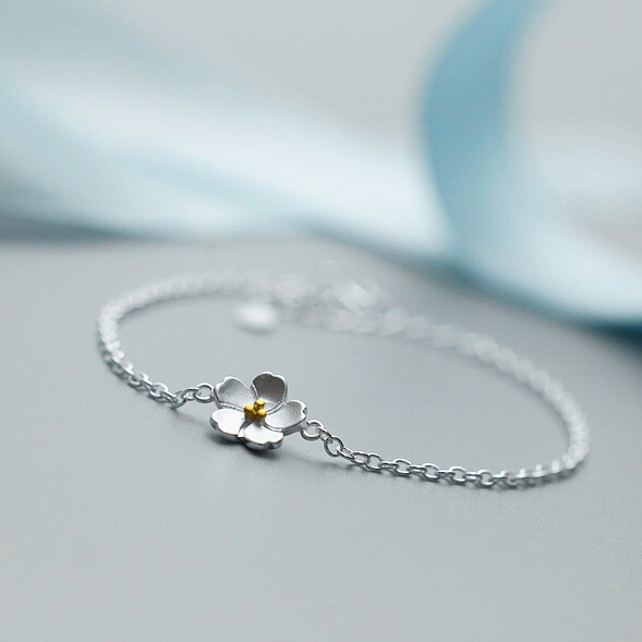 Flyleaf 100% 925 Sterling Silver Cherry flower bracelets bangles for women Simplicity Jewelry Fashion Jewelry Pulseira Feminina