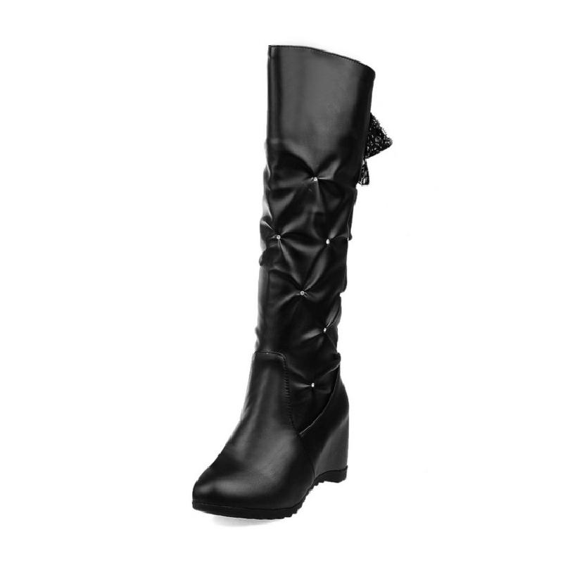 купить SALCXOI autumn/winter boots women PU height increasing slip-on high heel boots female knee high boots woman free shipping &x-30 дешево