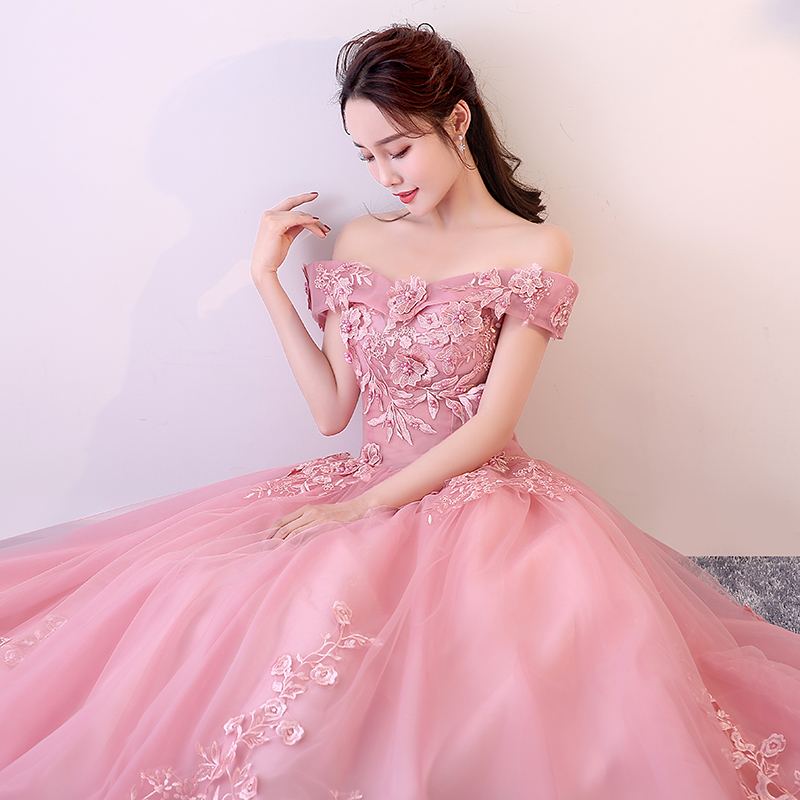 Red Pink Quinceanera Dresses Off The Shoulder Appliques Beading Vestidos De Gala Largos Prom Dress Puffy Masquerade Ball Gowns