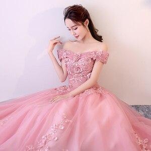 Image 1 - Rot Rosa Quinceanera Kleider Weg Von Der Schulter Appliques Perlen Vestidos De Gala Largos Prom Kleid Puffy Masquerade Ball Kleider