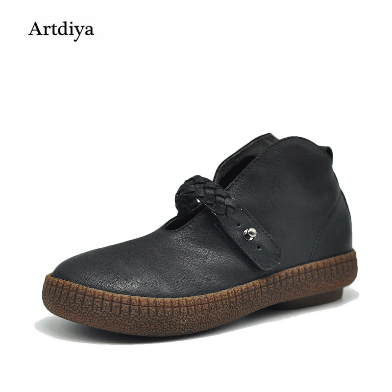 Artdiya 2017 Autumn and Winter New Retro Women Shoes Comfortable Soft Genuine Leather Casual Flats 028-7 2017 autumn and winter new plus velvet thick women s boots soft bottom comfortable breathable mother shoes wild leather