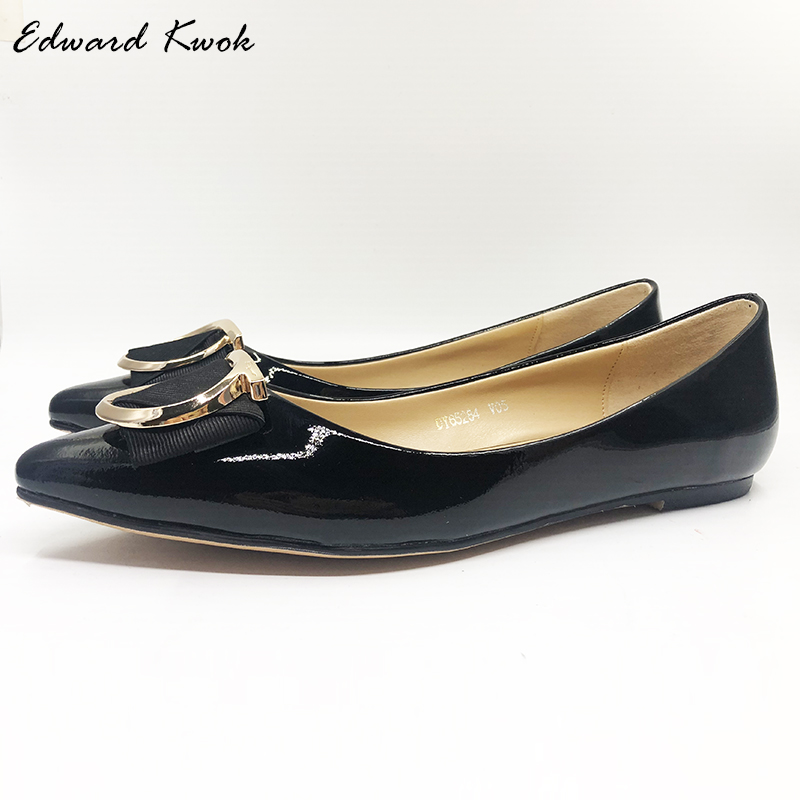 все цены на 2018 New Pointed Toe Genuine Leather Shoes Flats Women Bow Tie Designer Flats Shoes DA047
