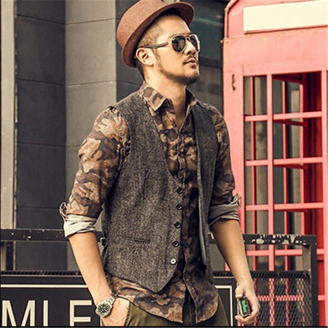 Coletes À Prova de Homens Outono E Inverno do vintage Outwear Moda Casual Colete Sem Mangas Dos Homens Terno Homens Blazer Inverno A2805