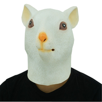 2018 New White Mouse Head Latex Mask Cosplay Prop Halloween Party