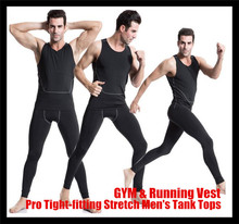 Professional II Tight-fitting Stretch Males Tank Tops,Stronger Sport Undershirt GYM&Fight Operating Coaching Physique-building Base Layer Vest