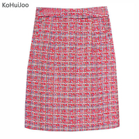 KoHuiJoo Autumn Winter Women Short Tweed Skirt Black Red Plaid Skirt Schoolgirl High Waist A Line