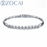 ZOCAI Brand New Design Diamond Bracelet Real Certificated 0 40 CT Diamond 18K White Gold Party