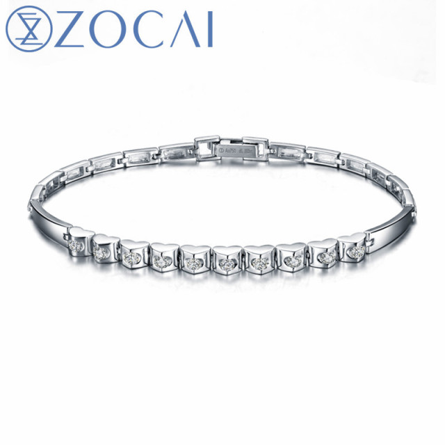 Zocai Brand New Design Diamond Bracelet Real Certificated 0 40 Ct 18k White Gold Party And