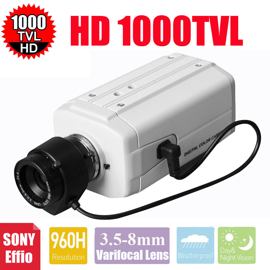 Vanxse CCTV 3.5-8mm Auto IRIS Varifocal Zoom Lens 1/3 SONY Effio CCD 1000TVL/960H CCTV Security BOX Camera