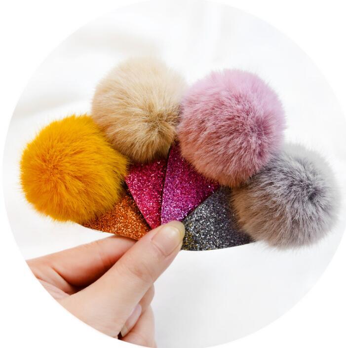 Rabbit Fur Pom Pom Hair Clips Ball Hairpins For Girls Headwear Hair Accessories Hair Ropes For Women Hairgrip A87 Apparel Accessories Girl's Accessories